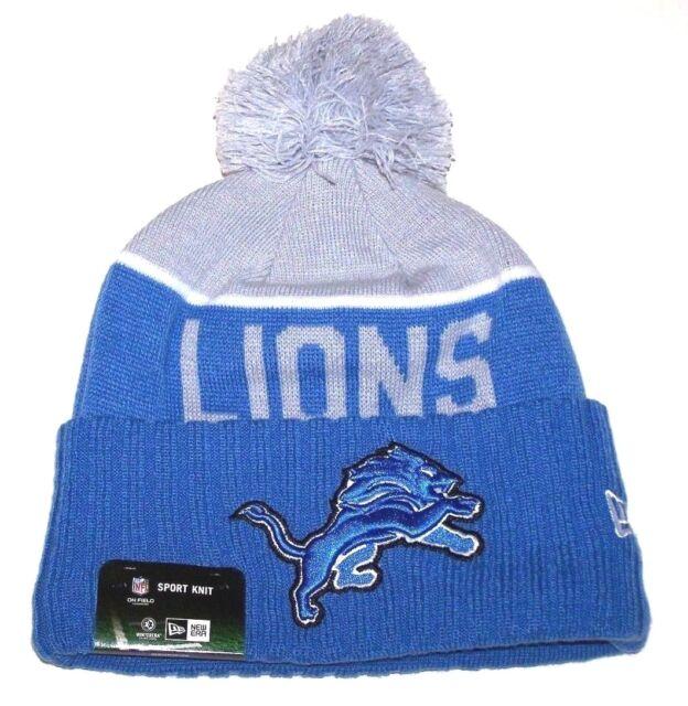 cheap for discount c635e 263c3 ... greece nwt new detroit lions lion logo football beanie cap hat rolled  cuff blue men 1801f