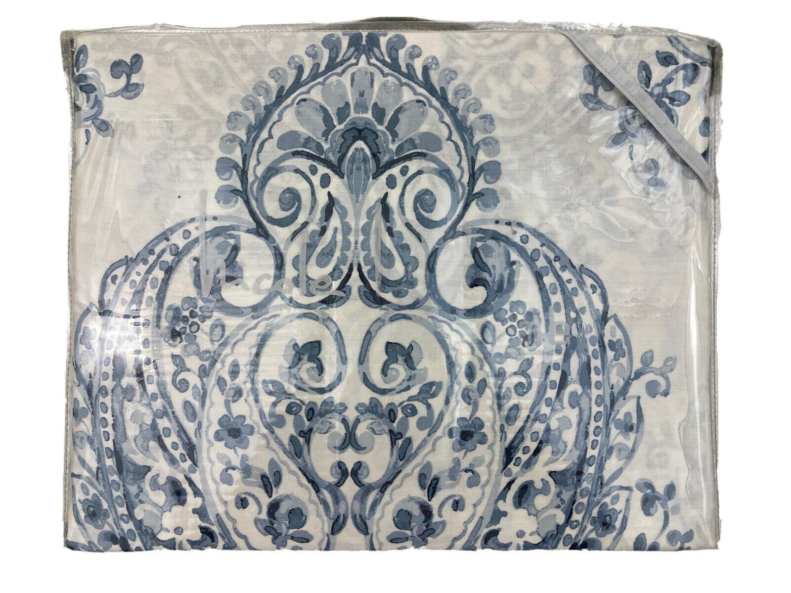 Nicole Miller Medallion Blue White Full Queen Duvet Cover 3PC Set NEW