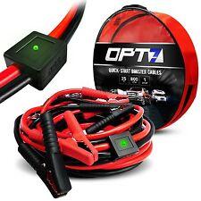 OPT7 25ft 1 Gauge AWG Jumper Cables Smart Booster LED 800amp Full Copper Rubber