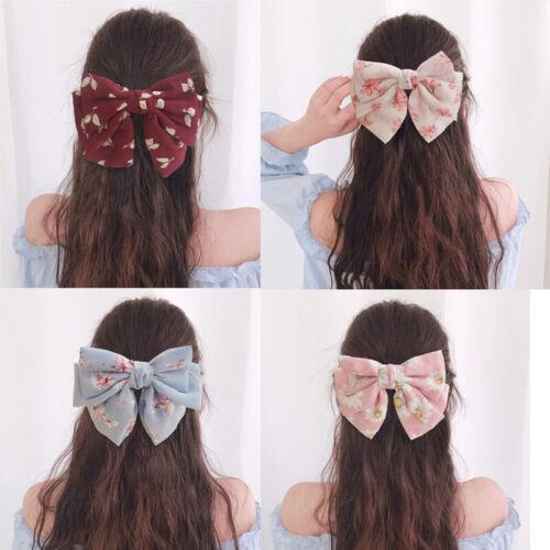Women Girl/'s Big Bow Hair Clips Grips Pin Dot Chiffon Barrettes Hair Accessories