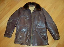 Vintage WWII Era Brown HORSEHIDE Leather Shearling BARNSTORMER Coat Jacket 40