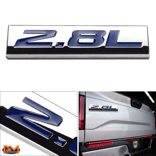 """/""""2.8L/"""" Polished Metal 3D Decal Blue Emblem Exterior Sticker For Volkswagen//Saab"""