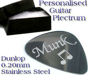 Quality-0-20mm-Stainless-Steel-Guitar-Pick-Engraved-Free-Personalised-Plectrum