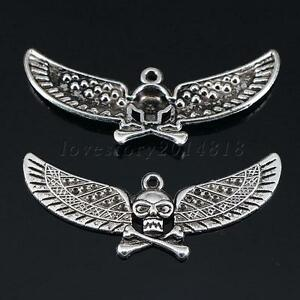 520pcs antique silver pirate wings skull charms pendant jewelry 5 20pcs antique silver pirate wings skull charms aloadofball Choice Image