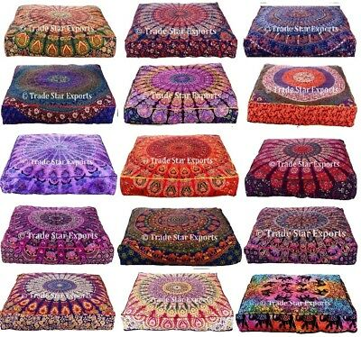 Large Mandala Tapestry Box Cushion Cover Bohemian Meditation Floor Pillow Case