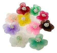 10 x Beaded Stick On Organza Flowers 4 Card Craft, Scrapbooking, Embellishments,