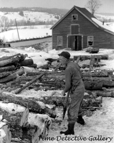 c.1940 Vermont Historic Photo Print Farmer Stacking Logs near Waterbury