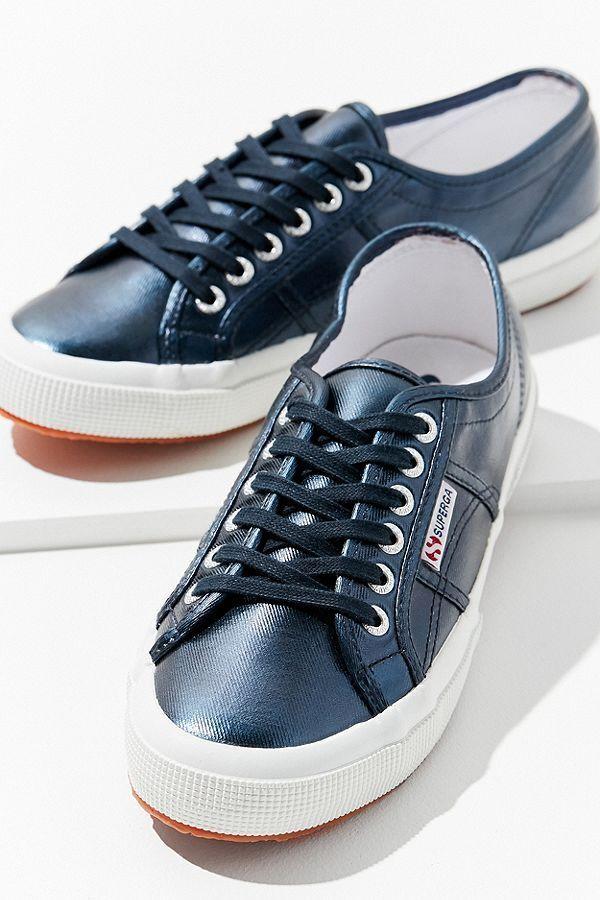 SUPERGA 7.5 8.5 Sneakers COTU Metallic Navy Blue Lace Up Women's Shoes NIB