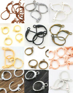 30-60Pcs-Brass-French-Hooks-Ear-Wires-Connector-Clip-Lever-Back-Earrings-Finding