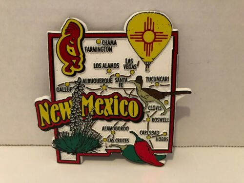 New Mexico Refrigerator Magnet Shaped Like The State /& Has Different Cities NEW