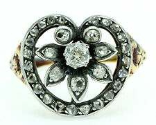 An Unusual 2ct Old Cut Diamond Stylised Heart & Flower Ring Circa 1800's