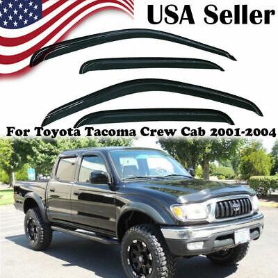 4pc Visor Rain Guards For Toyota Tacoma 2000 2001 2002-2004 Crew Cab 4-Door