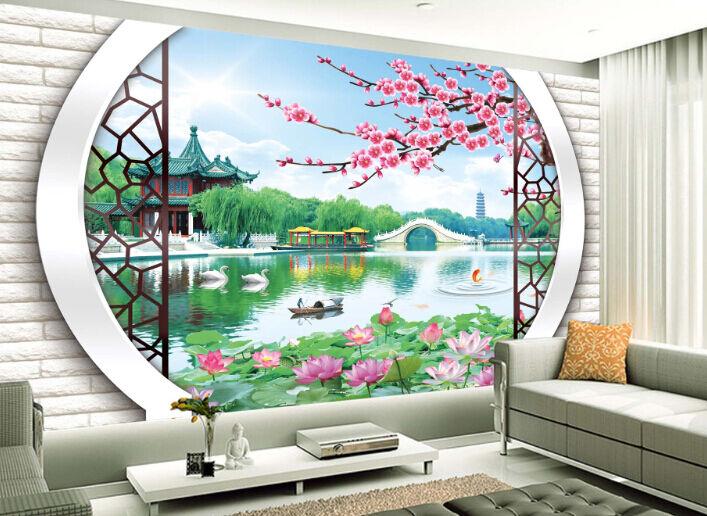 3D Arch Plum Lotus Paper Wall Print Decal Wall Wall Murals AJ WALLPAPER GB