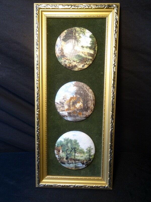 John Constable Style Set 3 Ceramic Art Country Scenes Miniatures Gilt Frame