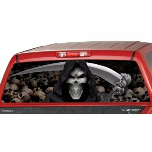 GRIM REAPER SKULLS Rear Window Graphic Rear Decal Sticker Tint Truck SUV Ute