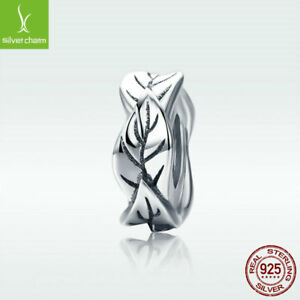 925-Sterling-Silver-Charm-Bead-Charming-Leaf-Fit-Women-Bracelet-Chain-New-Design