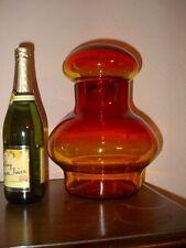 VINTAGE APOTHECARY JAR BULBOUS CANISTER HUGE W/ TOP RED ORANGE AMBER JAR