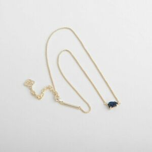 New-Kendra-Scott-Helga-Gold-Pendant-Necklace-in-Blue-Drusy