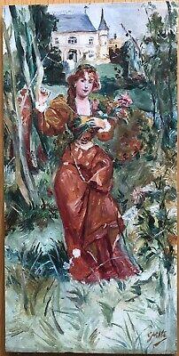 Tableau Peinture Huile Portrait Art Nouveau Femme Rousse Chateau Fleurs Bouquet Ebay