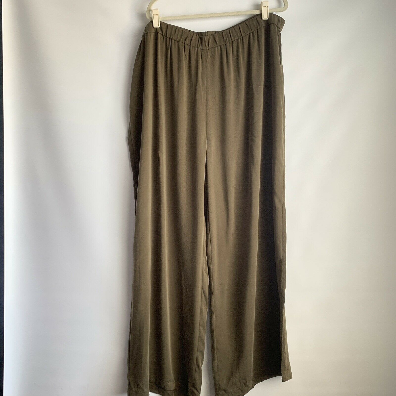 NWOT LOGO by Lori Goldstein Woven Washed Modal Wide-Leg Pant Sz 2x  90 Grün