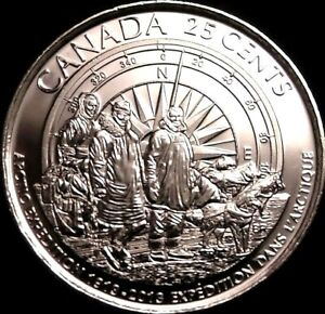 Canada-2013-25-Cents-First-Arctic-Explorers-Plain-Coin-UNC-Gem-BU