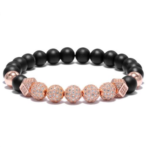Men Luxury Micro Pave CZ Ball Crown Charm Bracelet Men Jewelry Matte Agate Bead