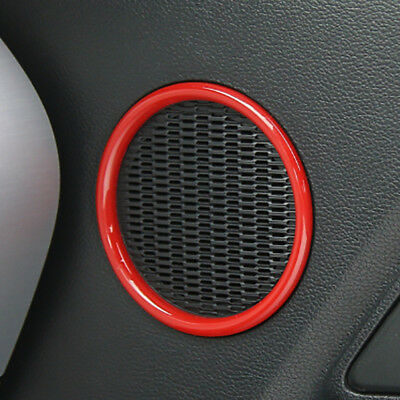ABS Carbon fiber Car Door Speaker Audio Ring Cover trim For Ford Mustang 2015-19