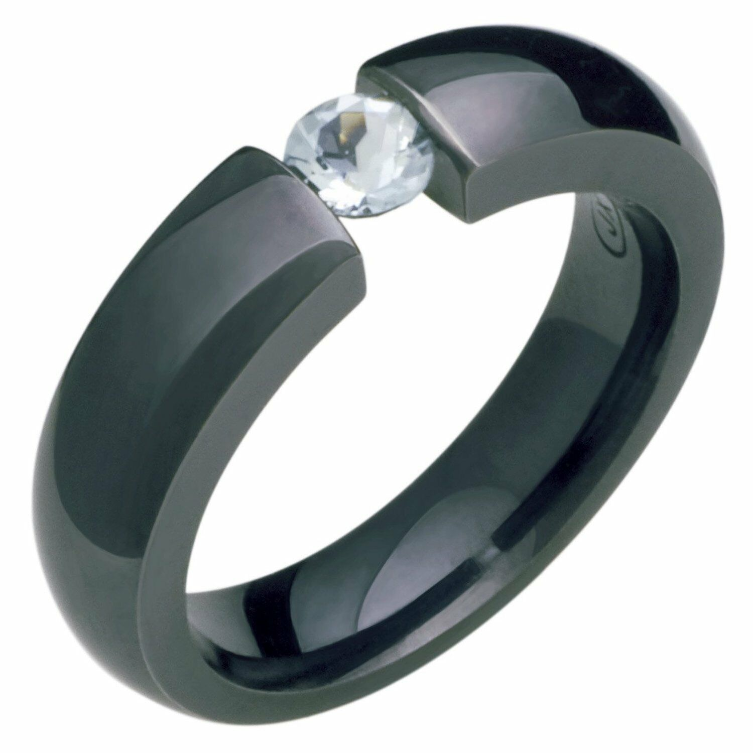 Black Titanium Ring Natural Gemstones Genuine Aquamarine Polished