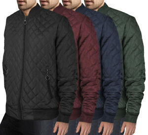Men-039-s-Ring-Zipper-Stylish-Quilted-Water-Resistant-Slim-Fit-Bomber-Jacket-JASON