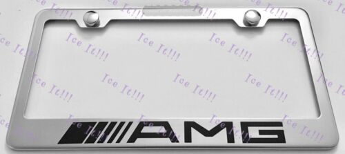 MERCEDES AMG Stainless Steel License Plate Frame Rust Free W// Bolt Caps