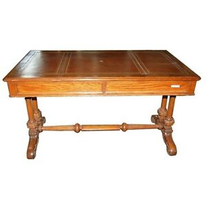 Image Is Loading Antique Oak Writing Table With Leather Top 3537