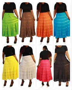 Boho-Cotton-Skirt-Women-039-s-Tiered-Maxi-Skirt-One-Size-Fits-2-16-9-Colors