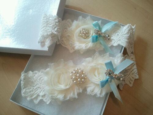 Ivory Shabby Flower with Something Blue Garter Set Wedding Bridal Garter Set