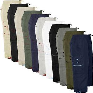 Para-Hombre-Pantalones-Cortos-Estilo-Cargo-Bermudas-Cremallera-Elastico-Pierna-Longitud-2-a-la