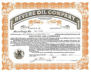 Revere Oil Company > 1922 old stock certificate share
