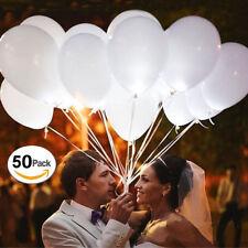 50x LED 28cm Helium Weiß Ballons für Hochzeit Party Kind Geburtstag Luftballon