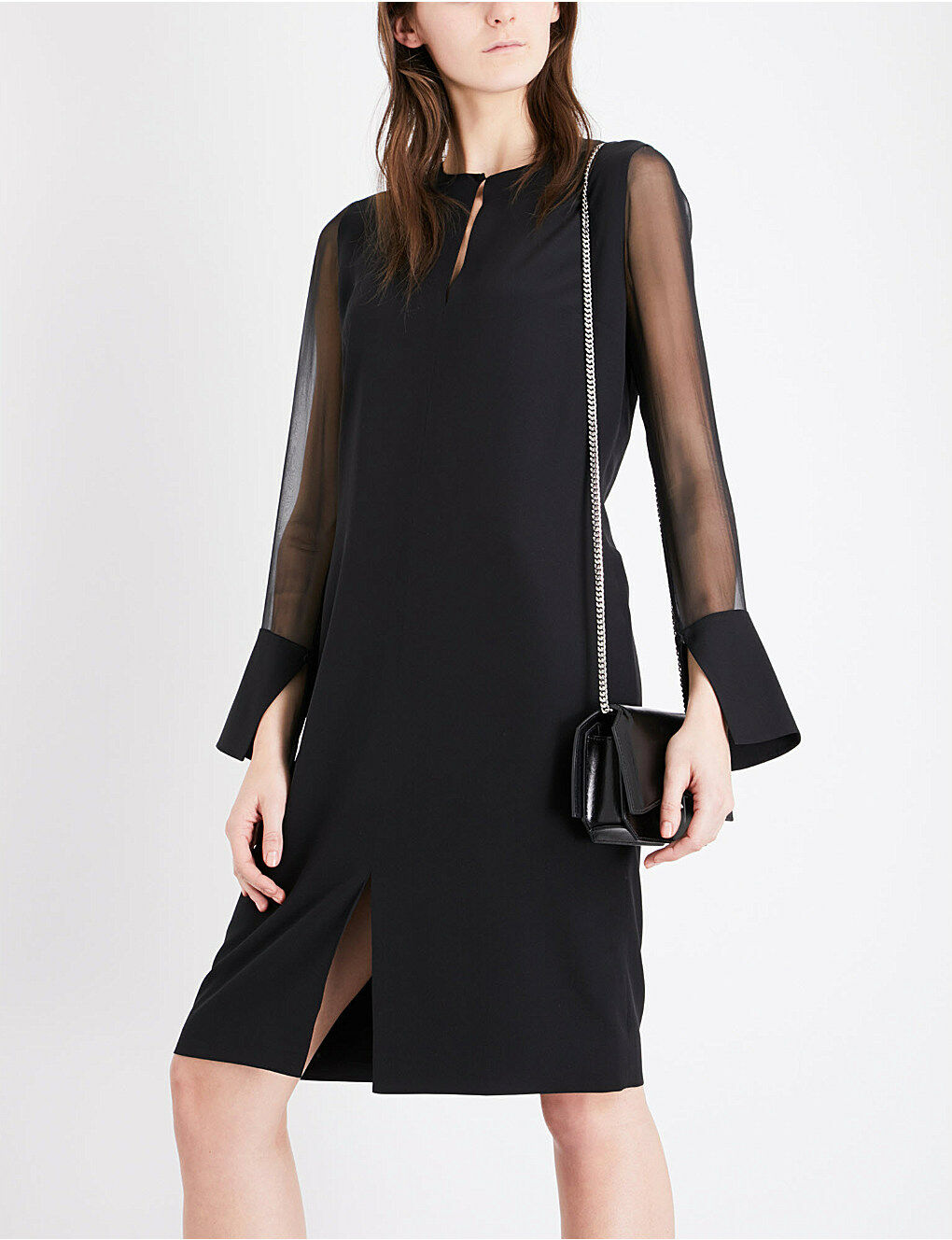 GIVENCHY 1895    Authentic New Sheer-Sleeve Silk-Crepe Dress F40 US 8 0d7885