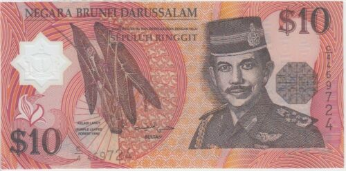UNC Brunei Banknote P24a 1996 10 Ringgit 1996 Prefix C//4 Polymer
