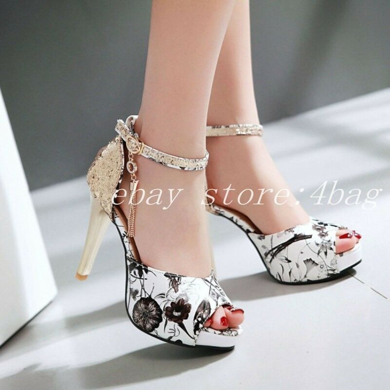 New New New Peep Toes Printed Sandals Ankle Strap Stilettos Womens Dress shoes Platform 6ba54b