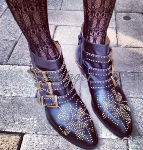 Zapatos De Cuero Cuero De Tachas Púas de mujer Vintage Punk Gladiador Grueso talón botas al Tobillo 42f133