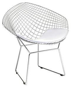 Image Is Loading Bertoia Wire Diamond Chair Replica White Seat