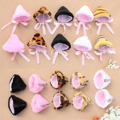 Trendy Halloween Lolita Cute Cosplay Party Anime Cat Ear Hair Clip Pin Pair MWUK