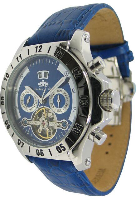 Lindberg & Sons Pitón Azul Reloj de Pulsera con Indicador Calendario Hombre