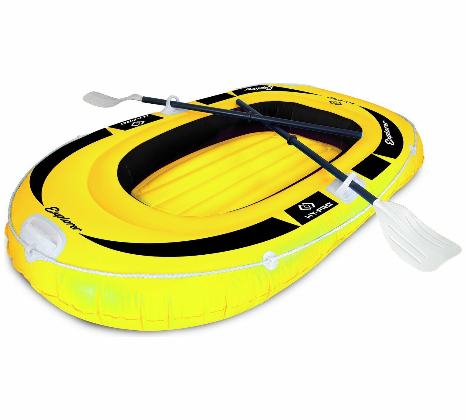HY-PRO 2 PERSON INFLATABLE YELLOW EXPLORER DINGHY – INCLUDES OARS, PUMP, ETC MAN