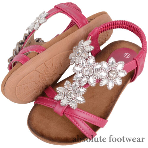 Shoes Floral Diamonte Pattern Holiday Sandals Kids Girls Summer Children