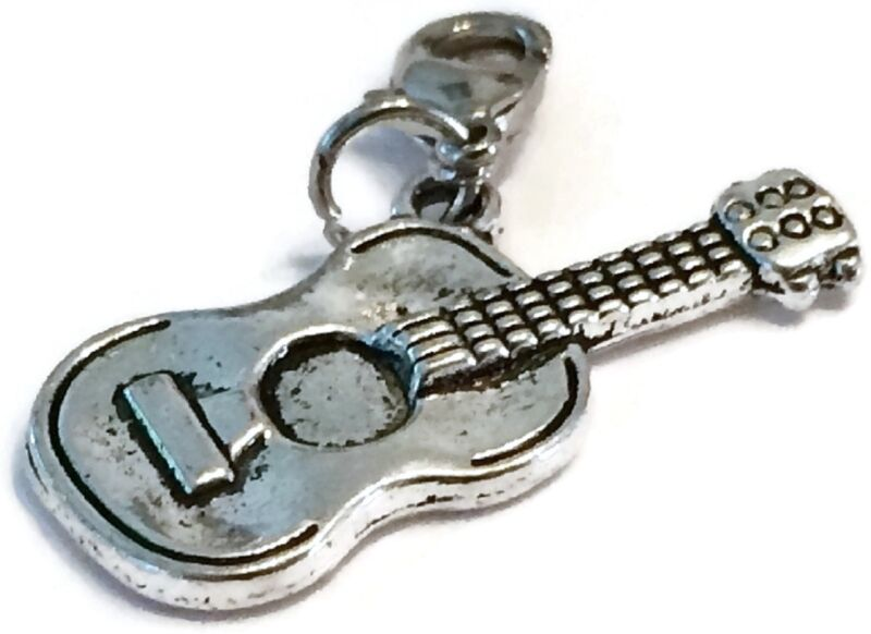Lovely Silver Guitar Clip On Charm For Bracelet-tibetian Silver - Free P&p