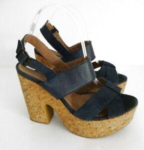NW3-HOBBS-Size-UK-6-Lovely-Navy-Suede-Sandals-5-034-Cork-Heels-Buckle-Fasten-VGC