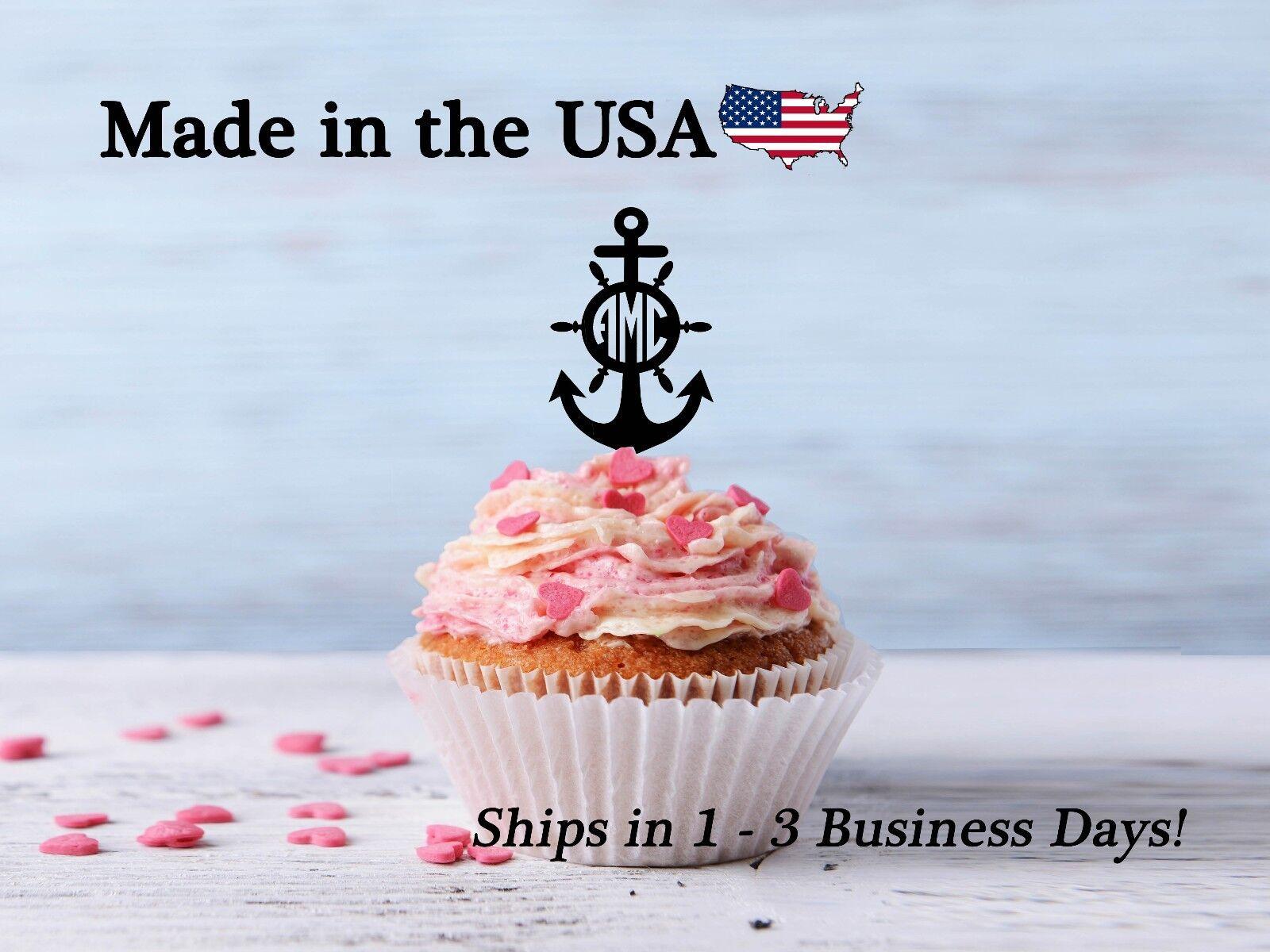 Anchor Cupcake Topper, Anchor with Initial, Circle Monogram, Ship Decor, LCT1013