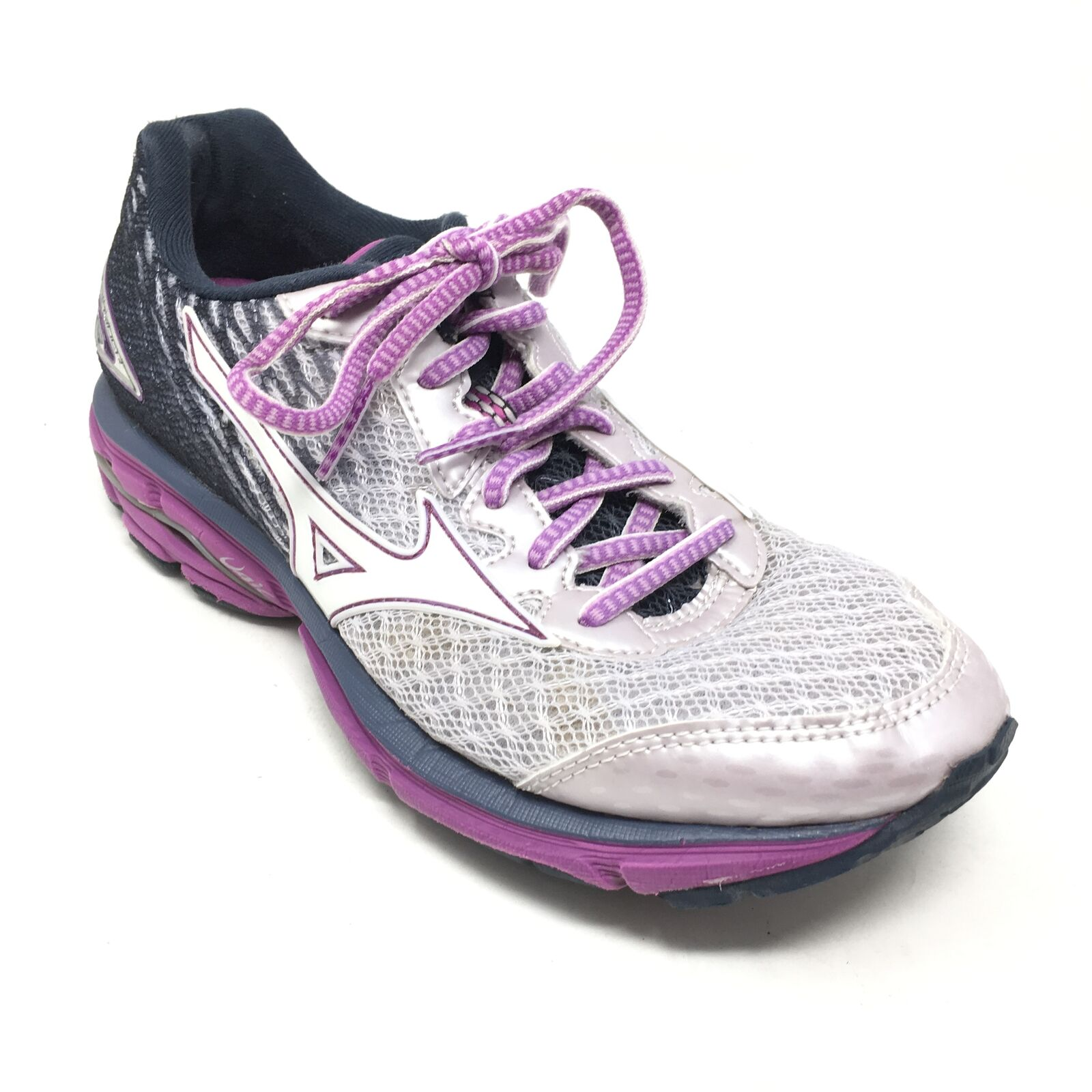 Women's Mizuno Wave Rider 19 Running shoes Sneakers Size 7M White Purple C9