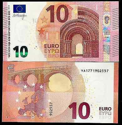 A SERIE Y001E3  PRINTER- UNC GREECE 10 EUROS 2014  DRAGHI NEW ! Y PREFFIX